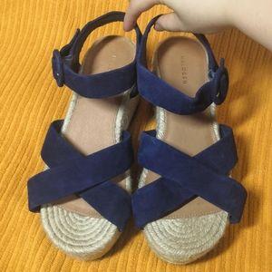 Nordstrom navy suede platform sandals